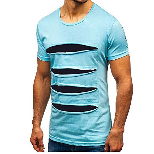 N\P Sommer M?nner l?ssig T-Shirt farblich abgestimmte N?hte Rundhalsloch Kurz?rmeliges T-Shirt Gr. 56, blau