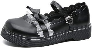 tiebixiaojun Women Japanse Harajuku Sweet Lolita Shoes PU Leather Strap Lace Bows Mary Jane Flat Shoes