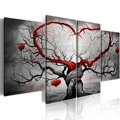 murando Silberbilder Wandbild Baum Liebe 160x80 cm Silber Bilder Leinwandbild 4 TLG Wandbild XXL Format Kunstdruck Modern Wanddekoration Wohnzimmer Design Wand Bild grau rot b-A-0595-as-i