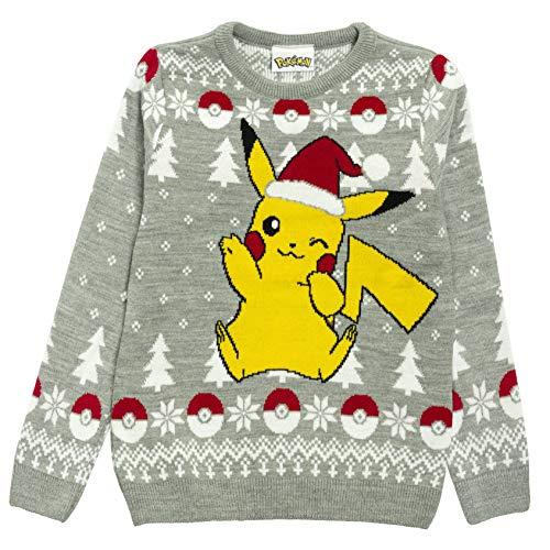 Pokemon Pikachu Chapeau de Père Noël de Noël Pull en Maille pour Hommes Gris L   Idée de Noël Jumper Laid Pull Isle Gift Fair