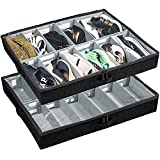 Low Profile Under Bed Shoe Storage Organizer, 4.5'' Tall and Fits Beds 5'' Off the Floor, Adjustable Dividers, Underbed Shoe Storage Solution - Set of 2 (Black)