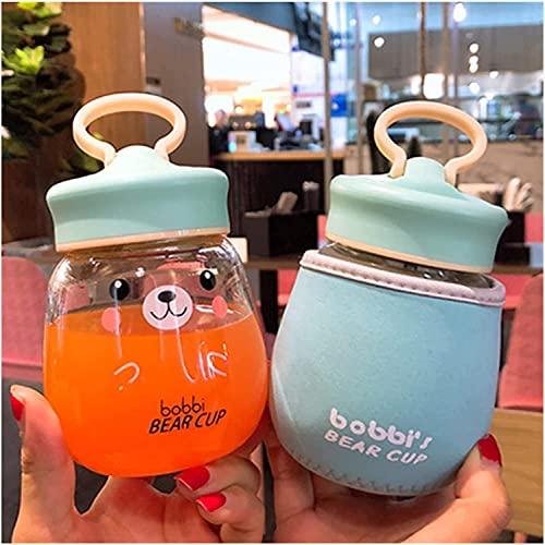 Taza de agua Kawaii de vidrio botella de agua portátil con colador de té a prueba de fugas botella de bebida para niñas estudiantes niños taza de viaje (capacidad: 301 400 ml, color: azul esmerilado)