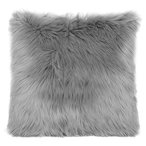 OJIA Faux Fur Throw Pillow Cover Cushion Case Super Soft Plush Accent Pillows Case Decorative New Luxury Series Style (18 x 18 Inch, Thick Grey)