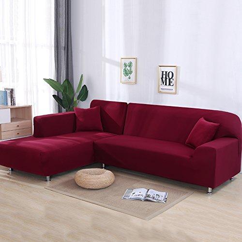 Jian Ya NA Stretch Sofabezüge Polyester Spandex Stoff Slipcover 2ST Polyester-Gewebe Stretch Slipcovers + 2St Kissenbezüge für Sectional Sofa L-Form Couch Lila