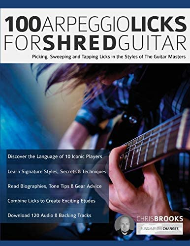 100 Arpeggio Licks for Shred Guitar Picking Sweeping and Tapping Licks in the Styles of The product image