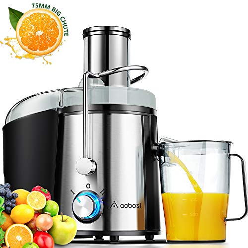 """Juicer, Aobosi Ultra 800W Power Wide Mouth 3"""" Centrifugal Juicer Machine for Whole Fruit Vegetable, BPA Free Juice Extractor with Dual Speed Control, Dishwasher Safe & Easy to Clean Brush"""