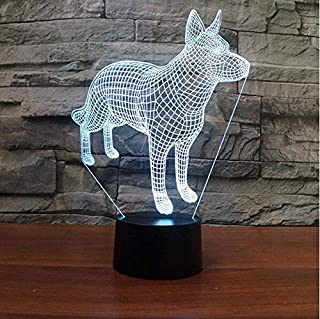 SUPERIORVZND 3D German Shepherd Dog Animal Night Light Touch Table Desk Optical Illusion Lamps 7 Color Changing Lights Home Decoration Xmas Birthday Gift