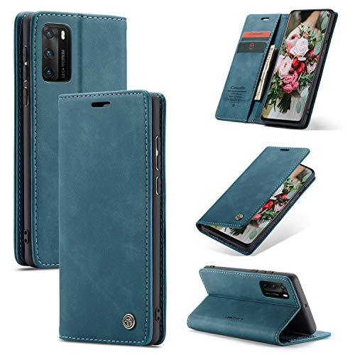 FMPC Handyhülle kompatibel mit Mi 10T pro 5G Premium Lederhülle PU Flip Magnet Hülle Wallet Klapphülle Silikon Bumper Schutzhülle für Mi 10T pro 5G Handytasche - Blaugrün