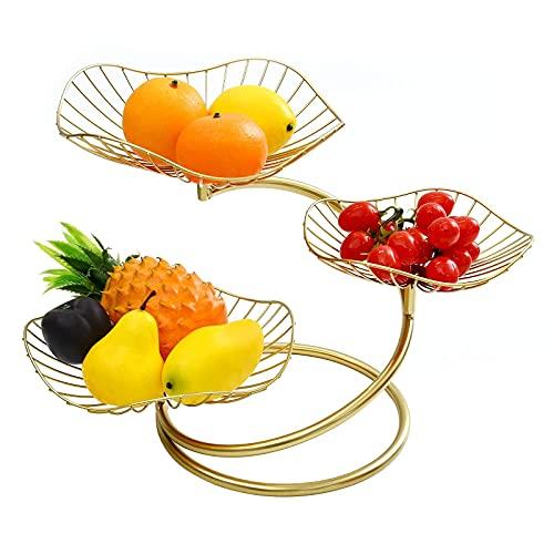 mossFlos Corbeille à Fruits à 3 Étages, Panier de Fruit Installation Facile, Corbeille Fruits Décoratif - D'or