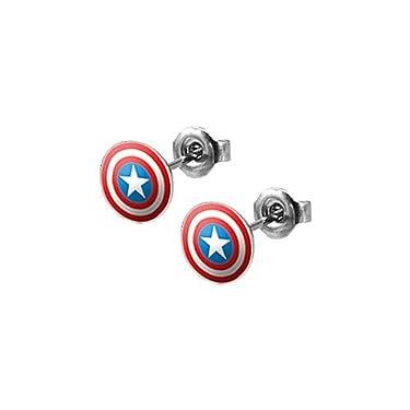 Captain Americas Shield Stud Earrings - Pair
