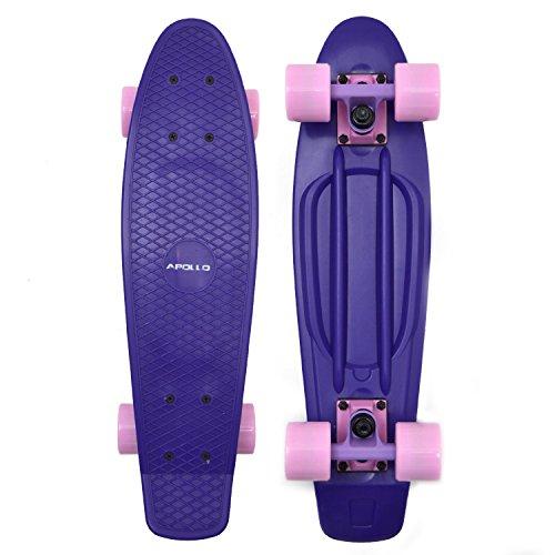 Apollo Fancy Skateboard, Vintage Mini Cruiser, Komplettboard, 22.5inch (57,15 cm), Mini-Board mit Holz oder Kunstsoff Deck mit und ohne LED Wheels, Farbe: Pastell Violett/Magenta