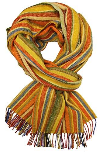 Rotfuchs Foulard homme à rayures et chevrons d'hiver à la mode 100% laine (Mérinos) (52 x 195 cm, couleur jaune)