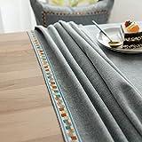Mantel de Lino y algodón de Estilo nórdico Mesa de Comedor Cubierta de Mesa de Centro Restaurante Banquete decoración de Cocina D 140x220cm