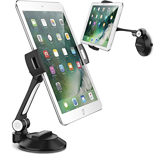 """AboveTEK Phone Tablet Stand Holder with Suction Cup Fits 4-11"""", Large Sticky Pad Tablet Mount on Kitchen Desk Office Window Bathroom Mirror Car Truck Windshield, for iPhone 5 6 7 iPad Mini Air Pro"""