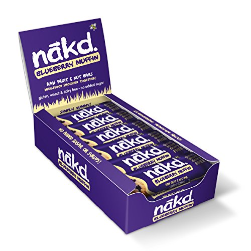 Nakd Raw Fruit and Nut Gluten Free Bars 30 - 35g(Pack of 18) (Blueberry Muffin)