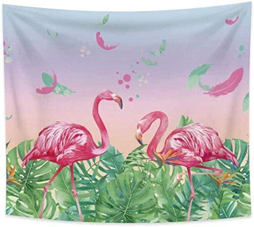 Tapiz de Flamenco Rosa Rosa y Verde Pluma Verde Hojas de Palmera cumpleaños Fiesta de cumpleaños decoración Colgante de Pared decoración de Dormitorio 150 cm x 200 cm