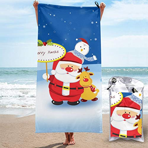 D.ADcustom 3D Printed Merry Christmas Santa Claus Quick Dry Absorbent Bath Towel Beach Towel