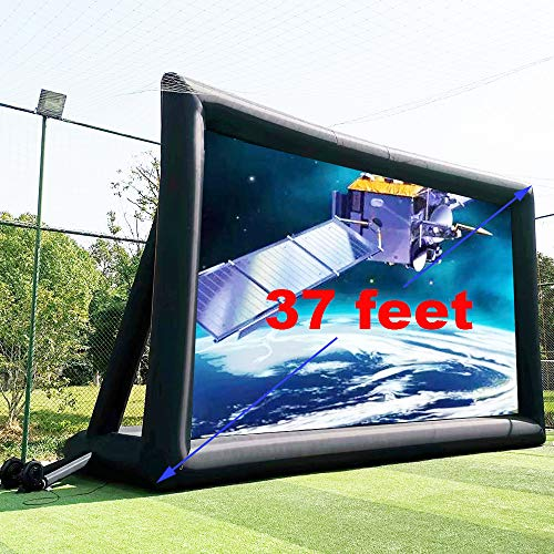 37ft Huge No Seam Inflatable Movie Projector Screen Outdoor - Front and Rear Portable Blow Up Theater Projection Screen with Stand for Churches, Grand Parties, Backyard Pool Fun (37ft with Blower)