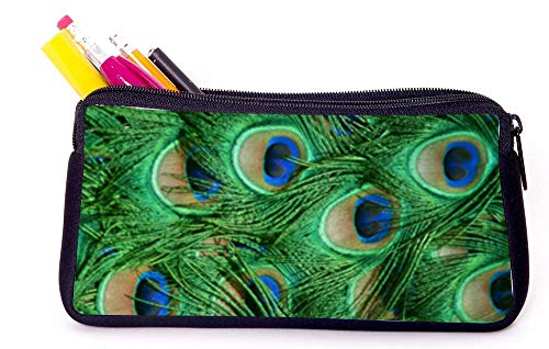 Peacock Feathers Pencil Case for School Supplies for Office Supplies, Gameboy DS, MP3, or Makeup Supplies