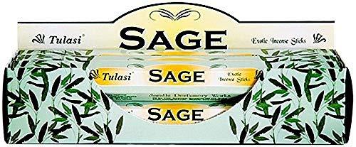 Tulasi Sage – Caja de 6 Tubos hexagonales de 20 Varillas Incienso