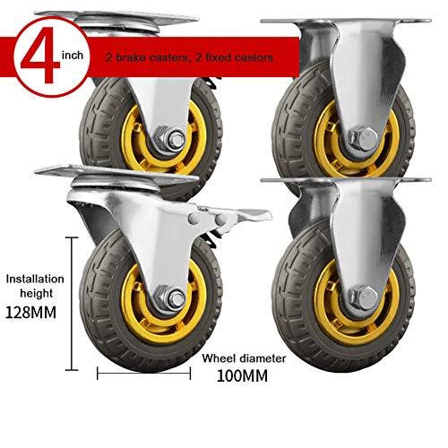 3inch / 4inch lenkrolle mit Bremsen, industrielle Transportrollen ohne Geräuschrad, Laufkatzenmöbelersatzrollen, Tragfähigkeit 300kg-4pcs