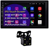 BIKON Double Din Car Stereo 7' Touchscreen Android 10.1 Car Radio with Bluetooth FM WiFi GPS Navigation Mirrorlink 2G/16G Car Stereo with Backup Camera Video Player + LED Reverse Backup Camera
