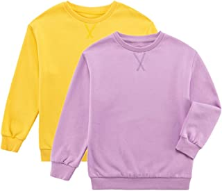 UNACOO Kids 2-Pack Long-Sleeves Fleece Lined Pullover Tops Crewneck Solid Sweatshirts for Boys and Girls