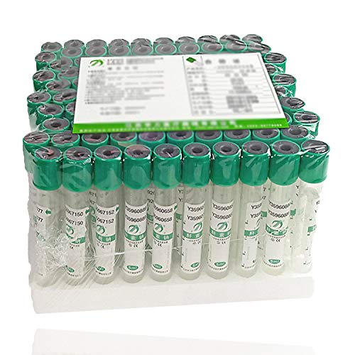 Green Top Tube 100pcs Plastic Vacuum BLD Collection Tubes, 3mL He-parin NA Tubes 12 x 75mm