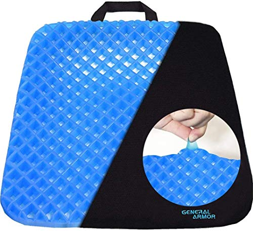 GENERAL ARMOR Gel Chair Seat Cushion,Office Chair Cushion Pad for Lower Back Pain, Sciatica,Tailbone,Hip and Back Pressure Relief,Orthopedic Seat Pads for Wheelchair, Car Seats, Office Chairs