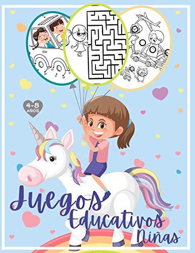 Juegos educativos - Niñas: Libro de actividades niñas 4-8 años: Laberintos, Unir los puntos y números, Encuentra las diferencias y juegos de colorear.