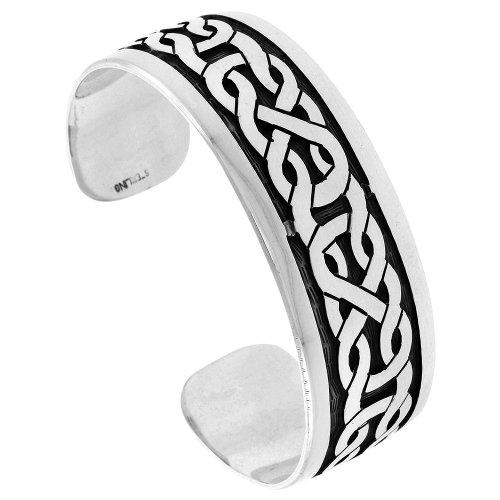 Sterling Silver Celtic Knot Cuff Bracelet Celtic Knot Pattern Handmade 7.25 inch