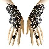 Juland Fingerlose Spitzenhandschuhe Frauen gotische Blumenspitze Steampunk-Armbandring Imitation Pearl Handmade Lace Up Handschuhe Braut Armband Ring Set - 1 Paar - Schwarz -
