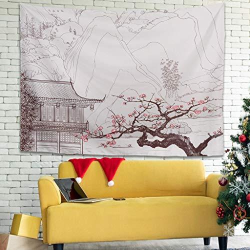 Tapiz de pared con flores de cerezo, árbol, montañas, japonés, para colgar en la pared, para dormitorio, toalla de playa, mantel, rosa, 200 x 150 cm