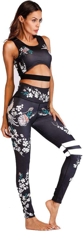 Women's Training Pants Printed Yoga Set Skinny Sports Fitness Running Set Dance Set Women Fitness Yoga Set (Size   M)