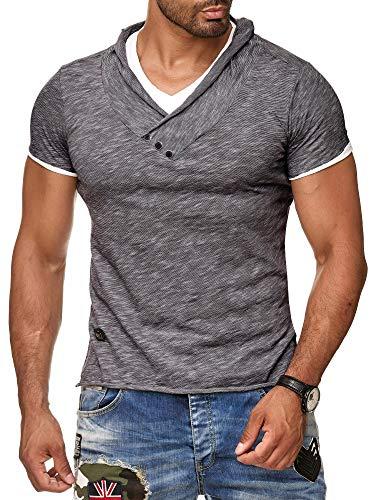 Redbridge by Cipo & Baxx Herren T-Shirt Super Slim Fit Designer Freizeitshirt Baumwolle V-Ausschnitt Melange R-4T1223 (M, Anthrazit)
