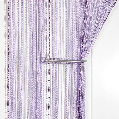 Eastery Dew Drop Perlen Kette String Vorhang Panel String Tür Vorhang Einfacher Stil Insektenschutz Saite Für Türen Trennwand Oder Fenster Vorhang Panel Armee Grün (Color : Violett, Size : Size)