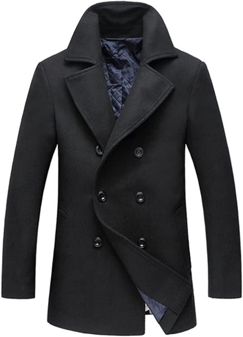 Men's Winter Jacket Erkek Winter Wool Coat Men Leisure Woolen Coat Men's Pure Color Double Breasted Coat