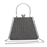 Hearty Trendy Crystal Glass Rhinestone Unique Shape Evening Bag with Metal Frame and Handle -Black
