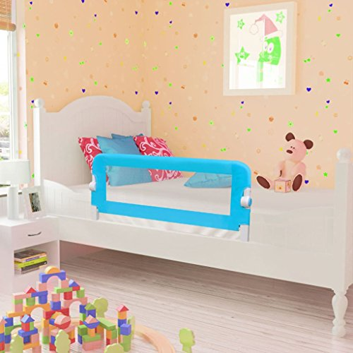 GOTOTOP Barra de Cama Abatible, Barandilla de Seguridad de Cama para Bebés y Niños, Barrera Infantil de Dormir 102 x 42 cm Azul