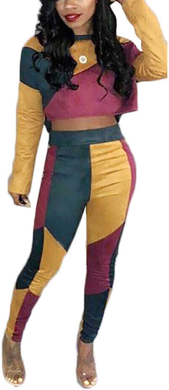 Akmipoem Women& 39;s color Block 2 Piece Outfit Long Sleeve Crop Top and Skinny Long Pants Set