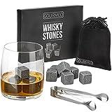 GOURMEO - Piedras de Whisky - Set de 9 Cubitos Reutilizables de Basalto Natural - Whisky Stones para Enfriar Bebidas Vino, Vodka, Ron - Libre de Sabores y Olores