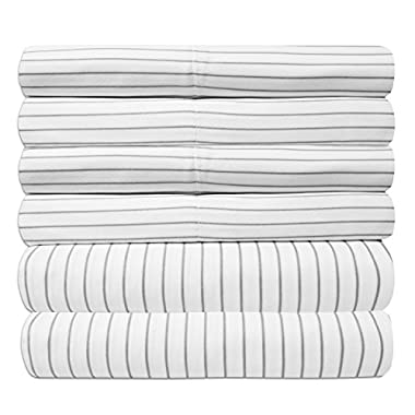 Sweet Home Collection 6 Piece 1500 Thread Count Deep Pocket Bed Sheet Set - 2 Extra Pillow Cases, Great Value, Pinstripe White, Queen