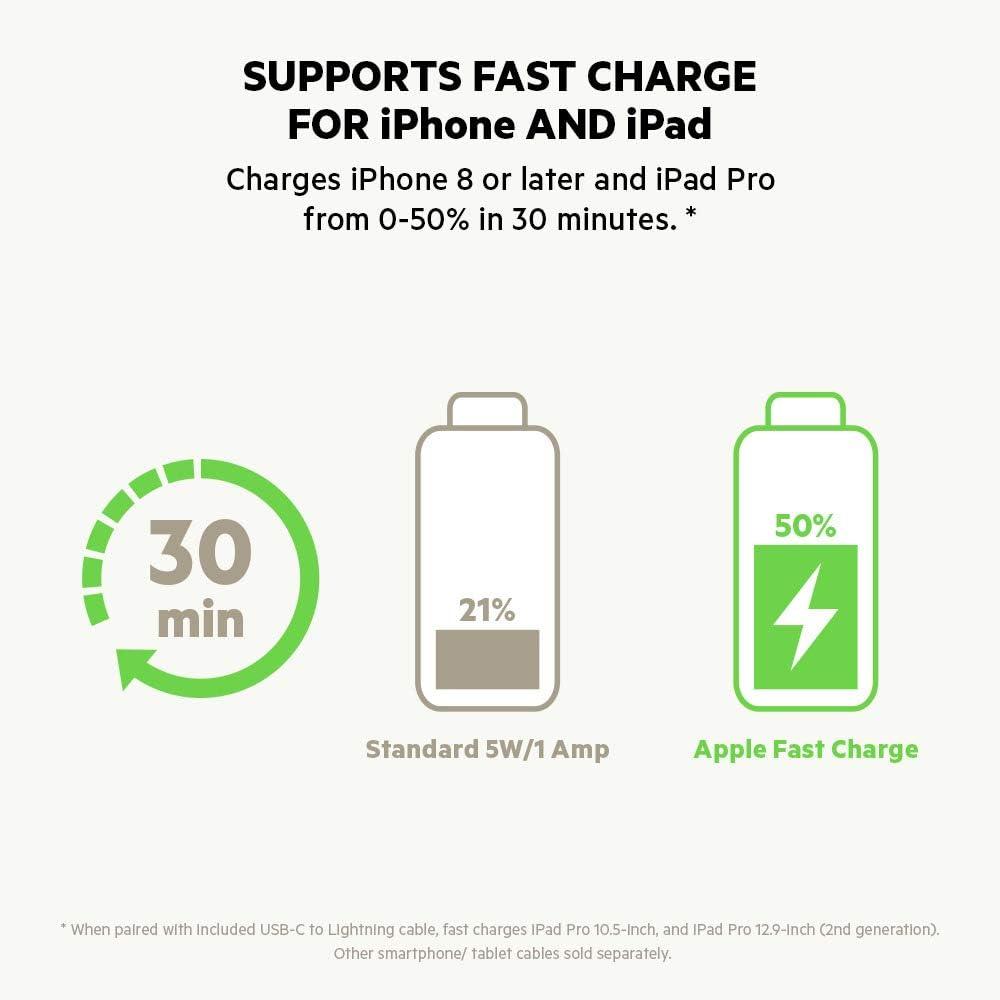 Fast Charger for iPhone 12, 12 Pro, 12 Pro Max, 12 mini, 11, 11 Pro//Pro Max, XS, Max, XR, X, SE, 8//8 Plus, iPad Pro 10.5 Inch Belkin USB-C Car Charger 30 W