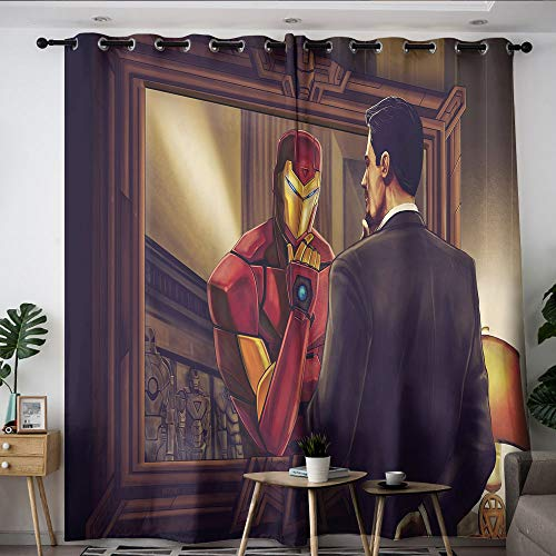 Elliot Dorothy Iron Man The Avengers Superhero Children Thermal Insulated Curtains Grommet Blackout Curtains Blackout Window Curtain for Thermal Insulation Decoration W55 x L63