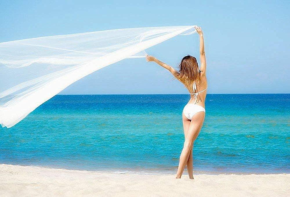 Womens Scarf Beach Sarong Swimwear Chiffon Cover up blue Shibori Indigo Wrap