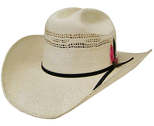 Modestone Unisex Feather Bangora Straw Chapeaux Cowboy Off-White