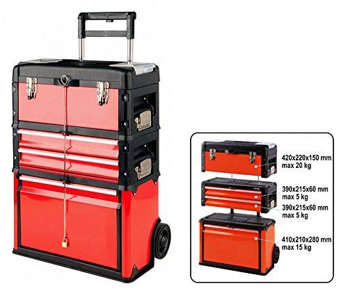 Werkzeugtrolley 4 Fächer, 3 Teile in Rot Werkzeugkasten Werkzeugkiste Werkzeugbox Werkstattwagen