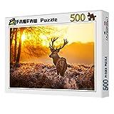 FAWFAW Puzzle 500 Piezas, Puesta De Sol del Bosque De Caza De Ciervos, 1500/1000/500/300 Piezas, Grandes Ilustraciones del Juego De Rompecabezas