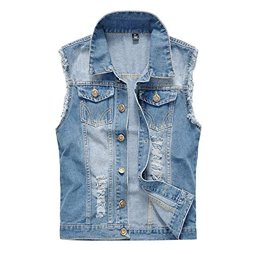 iYYVV Mens Denim Vest Casual Cowboy Jacket Ripped Holes Sleeveless Tops Light Blue