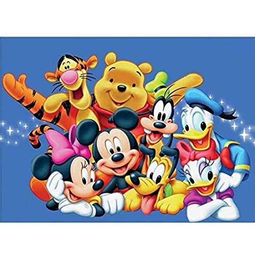 Kits de pintura de diamantes DIY 5D - YUESEN Kit de punto de cruz con diseño de Mickey Mouse familia amigo para decoración de pared para la decoración de la pared del hogar 40 * 30 CM